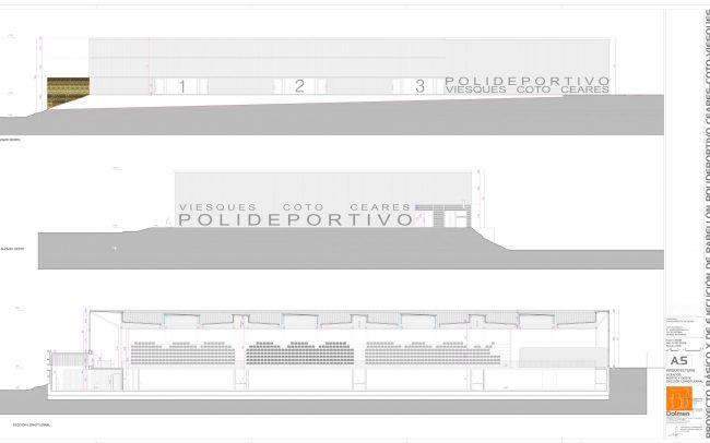 Plano de alzados y sección del polideportivo de Ceares Gijón obra de Dolmen Arquitectos