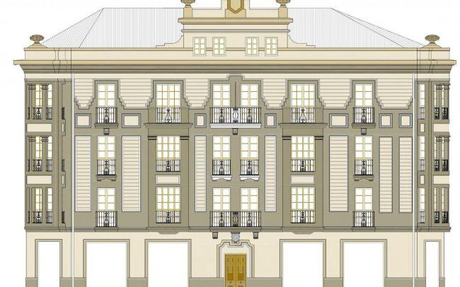 Plano de la fachada rehabilitada en la calle Instituto Gijon Asturias