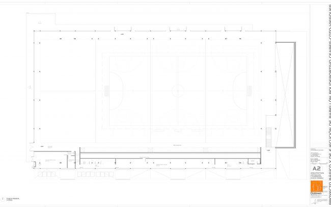 Plano de planta primera del polideportivo de Ceares Gijón obra de Dolmen Arquitectos