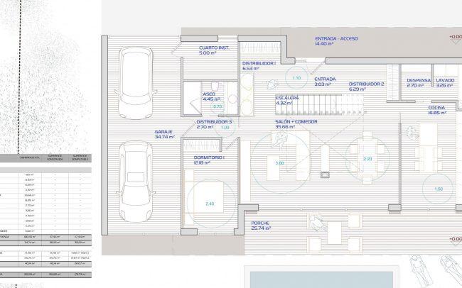 Plano de vivienda unifamiliar aislada en Santurio Gijón