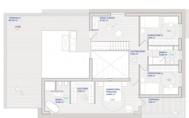 Primera planta de vivienda unifamiliar aislada en Santurio Gijón