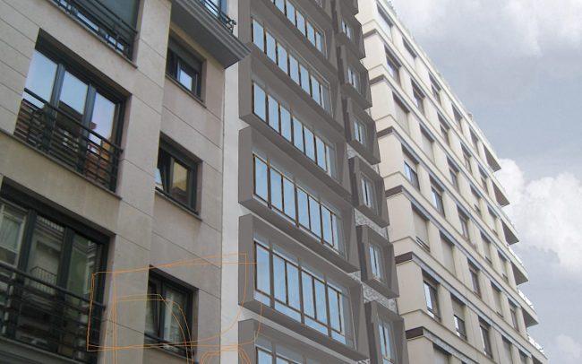 Propuesta 1 de rehabilitacion de fachada en Gijon por Dolmen Arquitectos