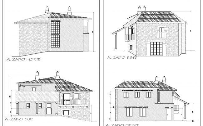 Reforma de casa rural en Castellanos de Sanabria Zamora obra de Dolmen Arquitectos Alzados