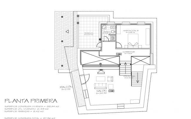 Reforma de casa rural en Castellanos de Sanabria Zamora obra de Dolmen Arquitectos planta primera