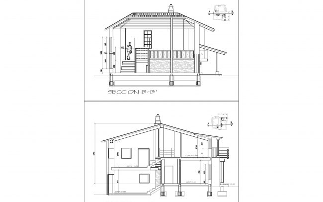 Reforma de casa rural en Castellanos de Sanabria Zamora obra de Dolmen Arquitectos secciones