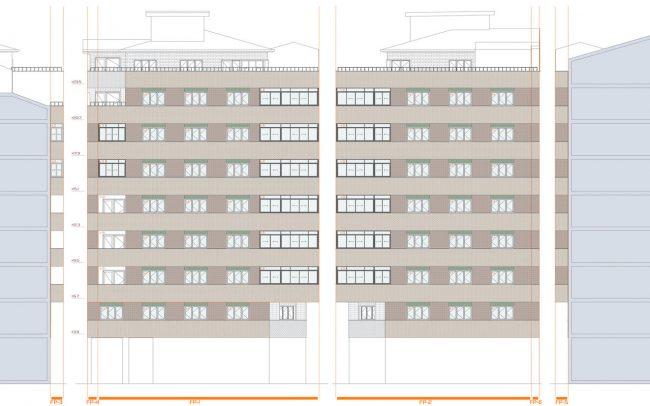 Reforma de fachadas en Oviedo calle Gloria Fuertes proyecto de Dolmen Arquitectos de Asturias estado actual