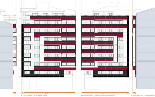 Reforma de fachadas en Oviedo calle Gloria Fuertes Dolmen Arquitectos de Asturias proyecto