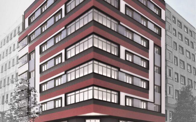 Reforma de fachadas en Oviedo calle Gloria Fuertes proyecto de Dolmen Arquitectos de Asturias render
