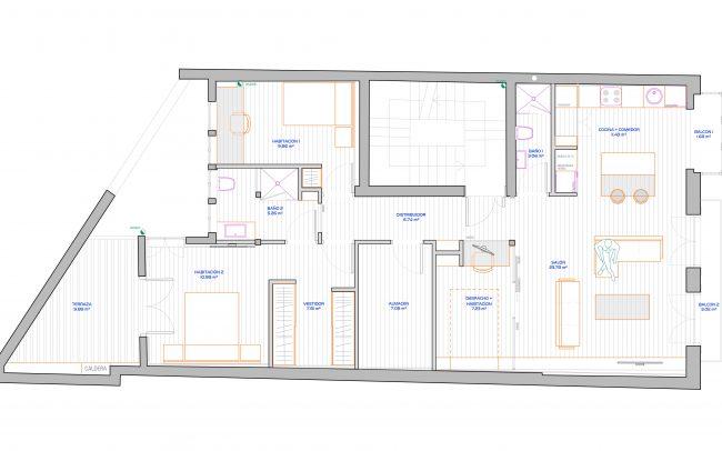 Reforma de piso en Gijón Dolmen Arquitectos plano