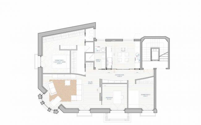 Reforma interior de vivienda en Asturias Gijón interiorismo Dolmen Arquitectos estado reformado