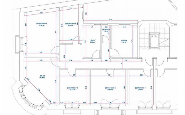 Reforma interior de vivienda en Asturias Gijón interiorismo Dolmen Arquitectos Planta actual