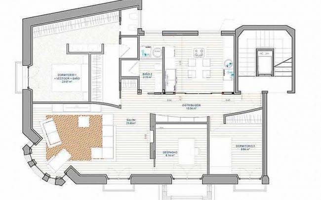 Reforma interior de vivienda en Asturias Gijón interiorismo Dolmen Arquitectos Planta reformada