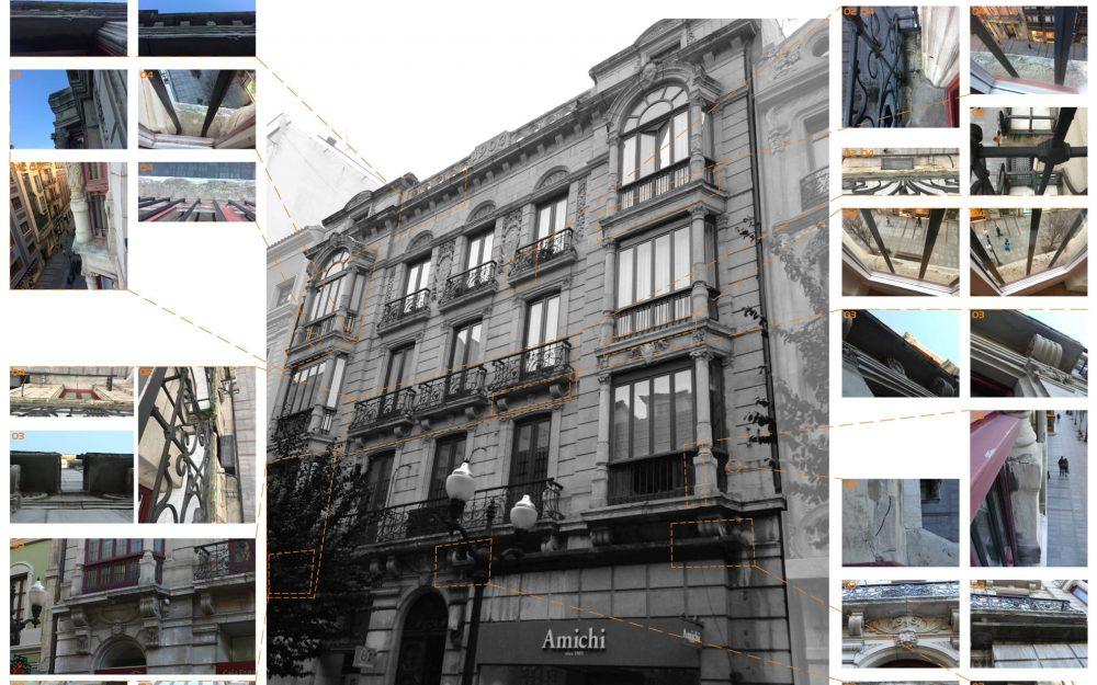 Rehabilitación de fachadas Asturias calle Corrida Gijón obra de Dolmen Arquitectos