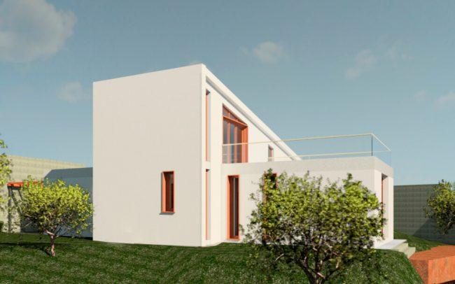 Vivienda unifamiliar aislada en Langreo vista suroeste porche diseño de Dolmen Arquitectos