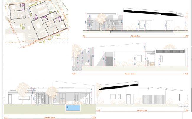 Vivienda unifamiliar en La Coría Gijón proyecto de Dolmen Arquitectos Asturias alzados