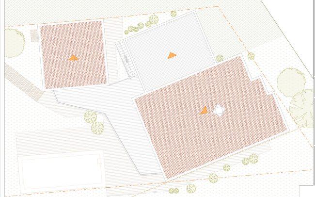 Vivienda unifamiliar en La Coría Gijón proyecto de Dolmen Arquitectos Asturias planta cubiertas