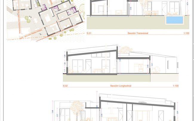 Vivienda unifamiliar en La Coría Gijón proyecto de Dolmen Arquitectos Asturias secciones