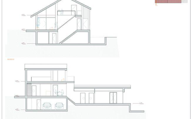 Vivienda unifamiliar en La Tejera Carreño Dolmen Arquitectos Asturias secciones
